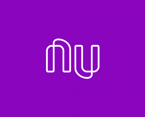 White Nubank logo on a purple background