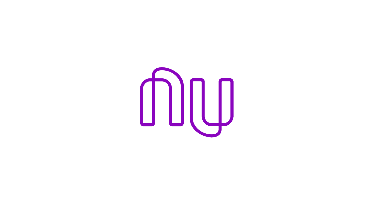 Purple Nubank logo on a white background